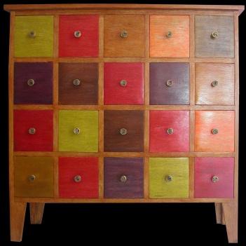 meuble 20 tiroirs POP ART peint et teinté en fluo L 120 X H 117 X P 38