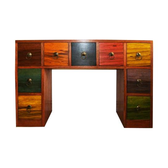console 9 carreaux en bois movingué teinté avec des fushines, poignées en fer