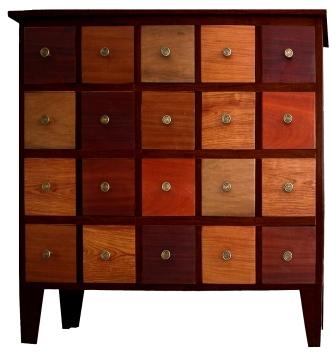 meuble Podor 20 tiroirs armature padouk