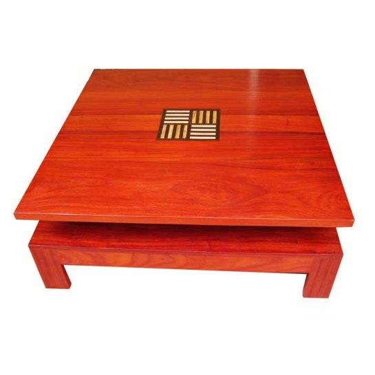 table baoulé double plateau en padouk, fraké et ronier