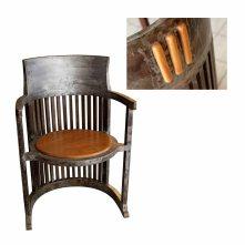 chaise barrel inspiration Frank Lloyd Wright en fer et bois