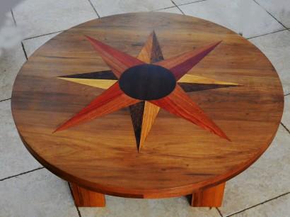 table bidew en bois bété, wengué,padouk, ronier, sipo
