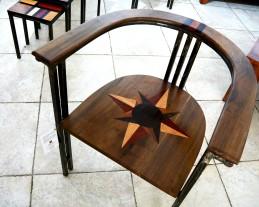 chaise pikine bidew en bois bété, wengué,padouk, ronier, sipo