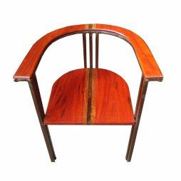 fauteuil pikine en fer et bois précieux (veine + wengué )