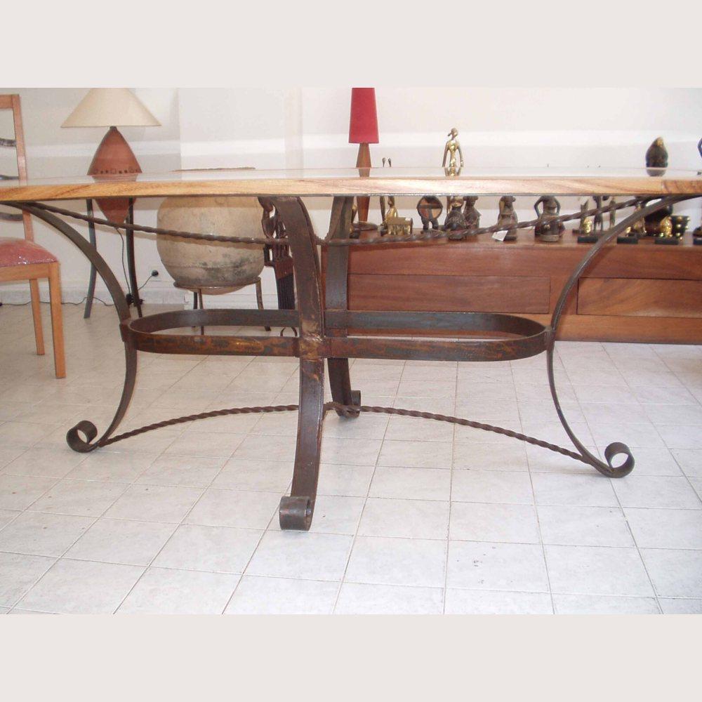 table fer et bois kadija, plateau oval