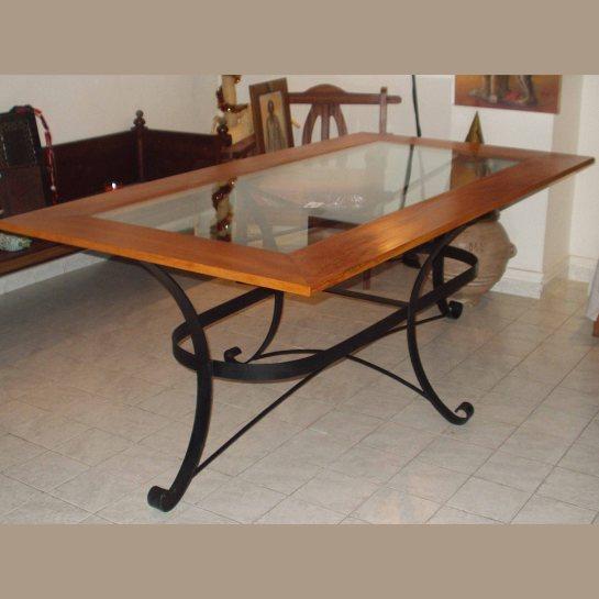 table fer et bois kadija, plateau rectangle