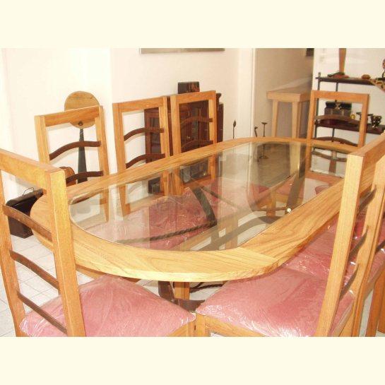 table fer et bois kadija, plateau oval, chaises kadija