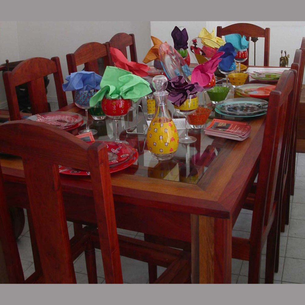table en verre et multi bois véronique, chaises st louis